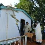 Освящение креста на купол молитвенного дома в честь Святой Троицы